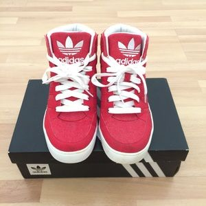 Men's Adidas Red High Tops Shoes, White Logo, 8